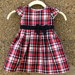 NWOT BEAUTIFUL RED WHITE & BLACK PLAID 18 MO DRESS